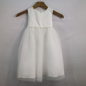 US ANGELS FLOWER GIRL DRESS WHITE SATIN SITE 3T